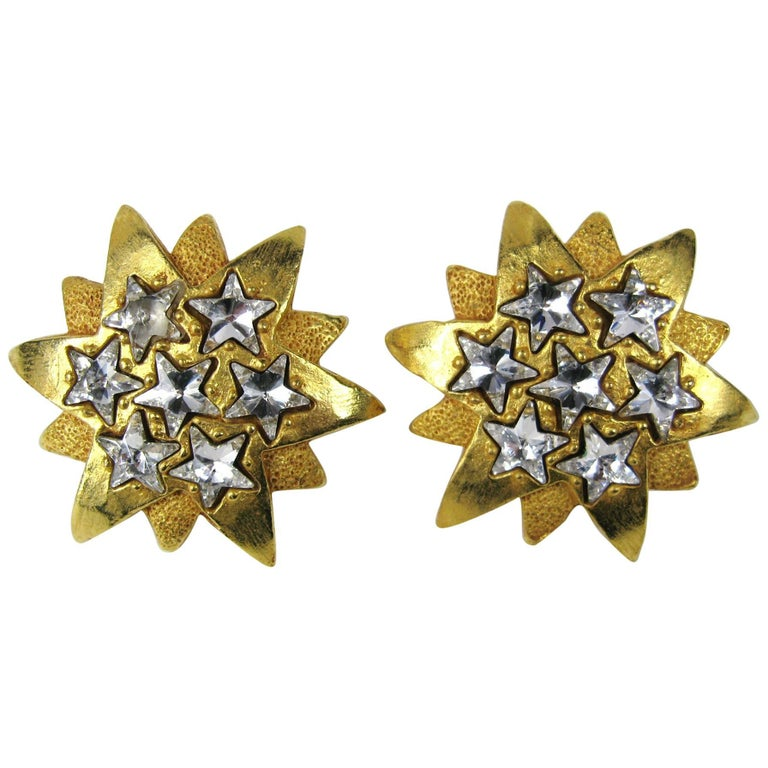 1980's Dominique Aurientis Gold Gilt Star Massive Earrings New, Never worn For Sale