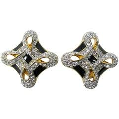 1980s Swarovski Crystal Glitz Black Enamel Earrings New Never worn