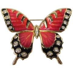 1980s Swarovski Crystal Enamel New Never worn Red and Black Butterfly