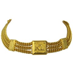 Karl Lagerfeld Gold Gilt Choker New Never worn Chain Necklace, 1990s