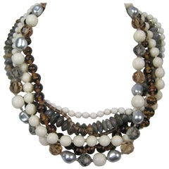 Ciner Swarovski crystal Beaded  6 strand Necklace, 1980s New Never worn