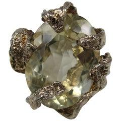 Massive Sterling Silver Citrine brutalist Ring
