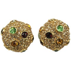 1980s Ciner Swarovski Red Green Amber Crystal encrusted Earrings New Never worn