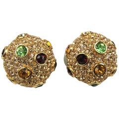 Ciner Swarovski Red Green Amber Crystal encrusted Earrings New Never worn 1980s