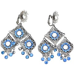 Blue Rhinestone Filigree Tassel Earrings, 1960s