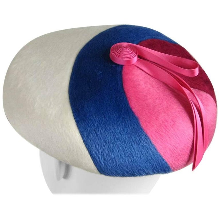Vintage 1960s Beret Hat Pink Burgundy Blue and White For Sale