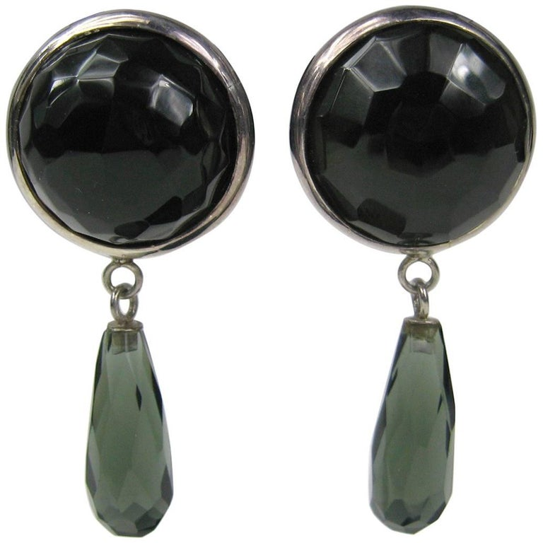 1980s Dominique Aurientis Sterling Silver Faceted Glass Earrings New, Never Worn