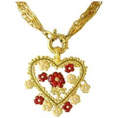 Karl Lagerfeld Red and Tan Enamel New Never worn Heart Necklace 1990s