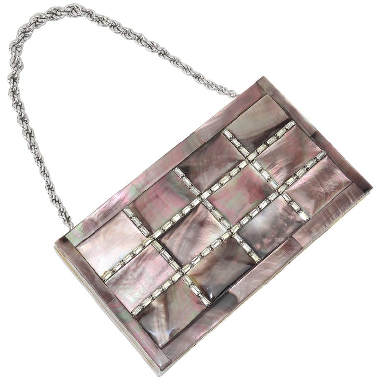 Evans Mother of Pearl Compact Wristlet Handbag, 1950s  For Sale