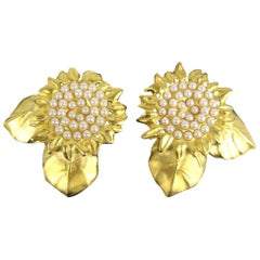 Karl Lagerfeld Sunflower Gold Gilt Earrings, New Never worn 1990s