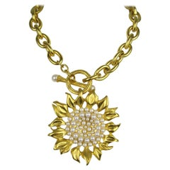 Karl Lagerfeld Gold Sunflower Necklace New, Never worn 1990s