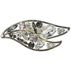 1980s Daniel Swarovski Crystal Leaf Motif Brooch New, Never worn