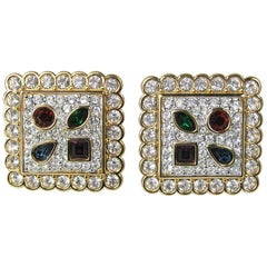 1980s Swarovski Crystal Multi colored Square Earrings New and Never worn