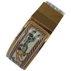 Hermes Clic Clac Enamel Printed Bracelet Greyhounds Levriers Dogs GHW Size GM