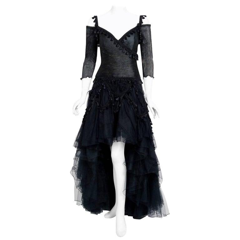 1991 Zandra Rhodes Black Tulle Tassel Fringe Bare Shoulder High-Low Gothic Gown