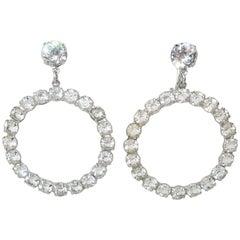 Glam 1950's Sterling Silver Hoop Rhinestone Earrings