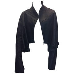 Rick Owens Leather Flared Cropped Black Jacket