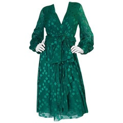 A/W 1973 Christian Dior Haute Couture Green Silk Chiffon Dress