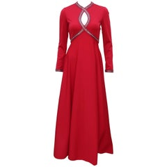 C.1970 Lipstick Red Victoria Royal Beaded Jersey Evening Dress