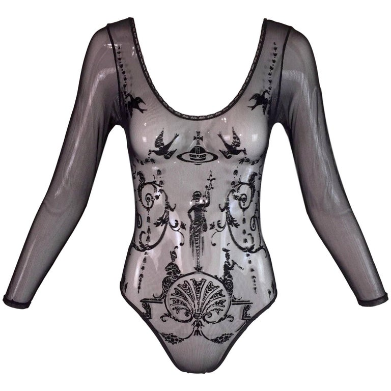 Documented 1992 Vivienne Westwood Black Sheer Mesh L/S Bodysuit Top S
