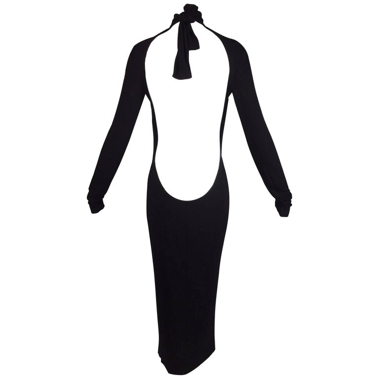 S/S 2001 Dolce & Gabbana Runway Plunging Back Pin-Up Black L/S Wiggle Dress
