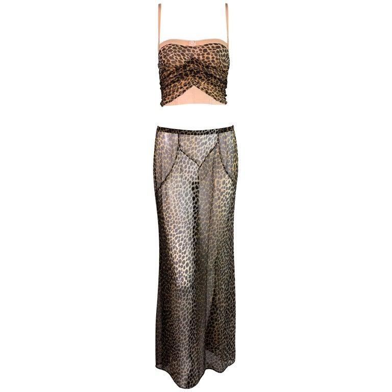 F/W 1996 Dolce & Gabbana Runway Nude Corset & Sheer Silk Leopard Skirt Set 38