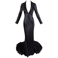 S/S 2007 Alexander McQueen Beaded Plunging Black Tuxedo Gown Dress 38 w Train
