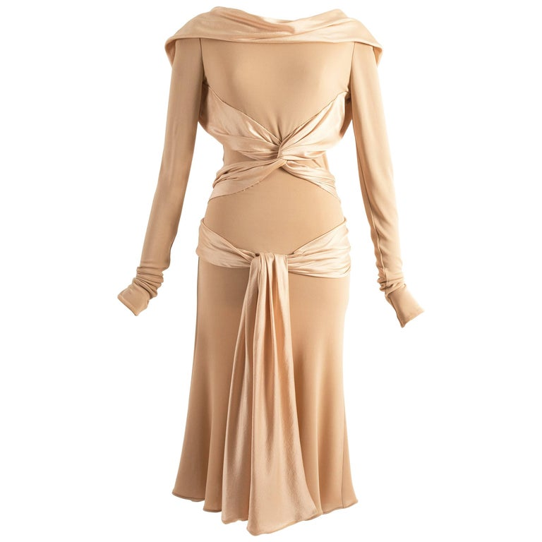 Alexander McQueen Autumn-Winter 2004 nude silk cocktail dress