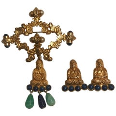 William de Lillo Gold Tone Buddha Brooch and Earrings Demi Parure Set, 1960s