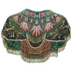 1970's Egyptian Revival Style Beaded & Fringed Bohemian Bib Collar