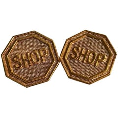 Moschino New Shop Stop Sign Gold Tone Earrings