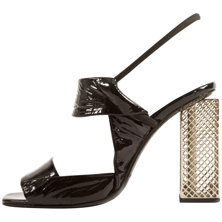 Calvin Klein Spring-Summer black patent leather slingback metal caged heels