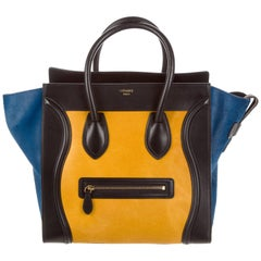 Celine NEW Black Blue Yellow Pony Small Mini Top Handle Satchel Tote Bag