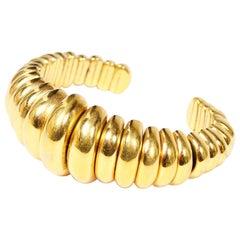 1980s Yves Saint Laurent Vintage Bracelet Gold YSL Cuff Signed