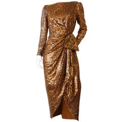 1980s Saks Fifth Avenue Mignon Sequin Leopard Gown