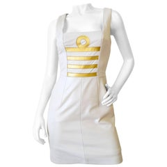 1980s Michael Hoban Winter White Leather Libra Bodycon Dress
