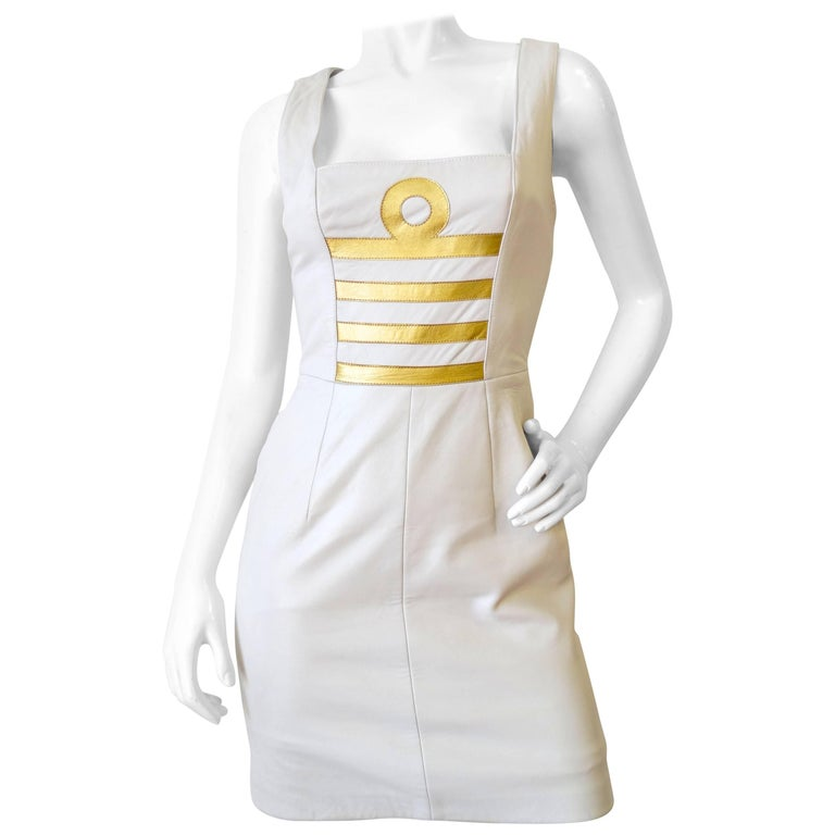 1980s Michael Hoban Winter White Leather Libra Bodycon Dress