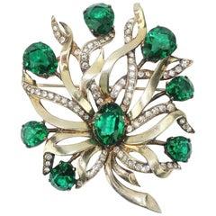 1940's Eisenberg Original Sterling Vermeil Brooch With Emerald Green Rhinestones