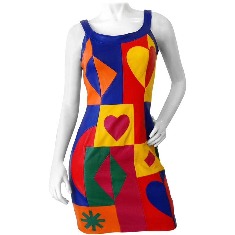 Michael Hoban Rainbow Pop Art Leather Dress, 1980s