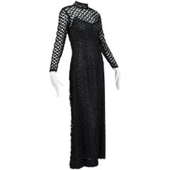 Pat Sandler Black Illusion Crochet Maxi Gown, late 1960s