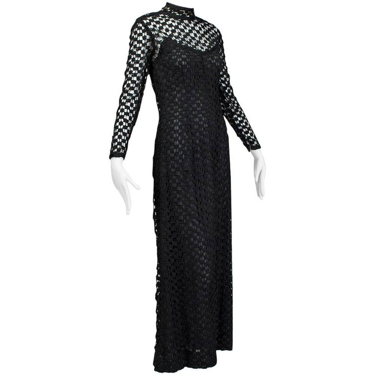 212cd4abb41c Pat Sandler Black Illusion Crochet Maxi Gown, late 1960s For Sale at ...
