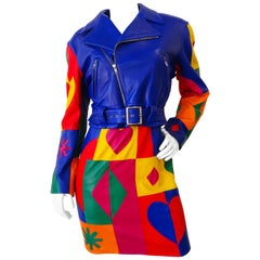 Michael Hoban Rainbow Patchwork Leather Jacket, 1980s