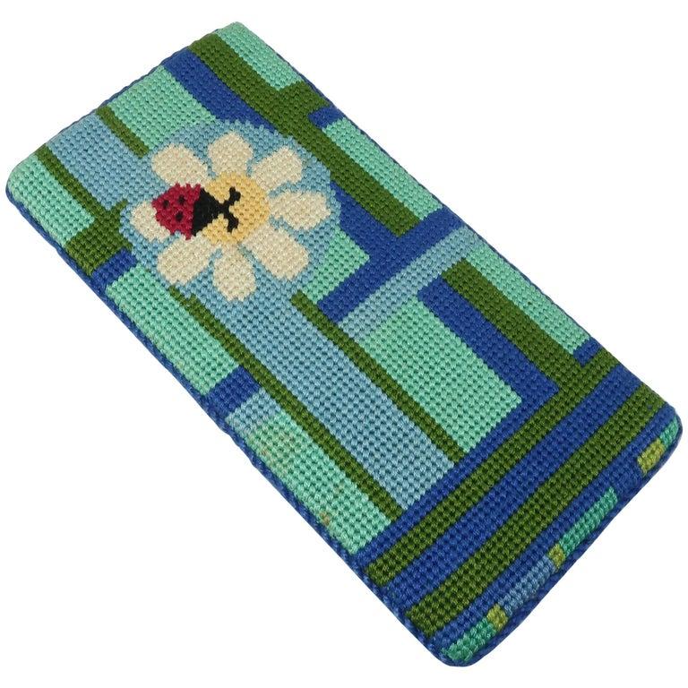 8f8e64273582 Whimsical Vintage Needlepoint Ladybug Eyeglasses Case