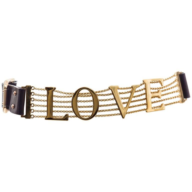 Dolce & Gabbana Love Black Leather Chain Belt, Spring - Summer 2003