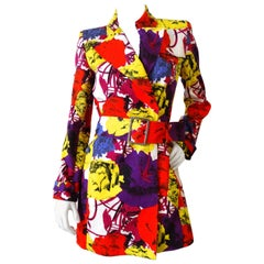 Gianni Versace Documented Pop Art Floral Mini Trench Coat, 1990s