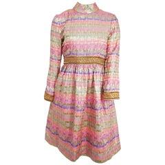 1960s Oscar de la Renta Boutique Pink and Gold Brocade Dress