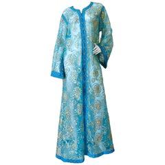 1970s Sheer Blue Super Model Length Sequin Kaftan Dress