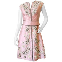 1960s Pink Silk Beaded Rhinestone Tailored Dress