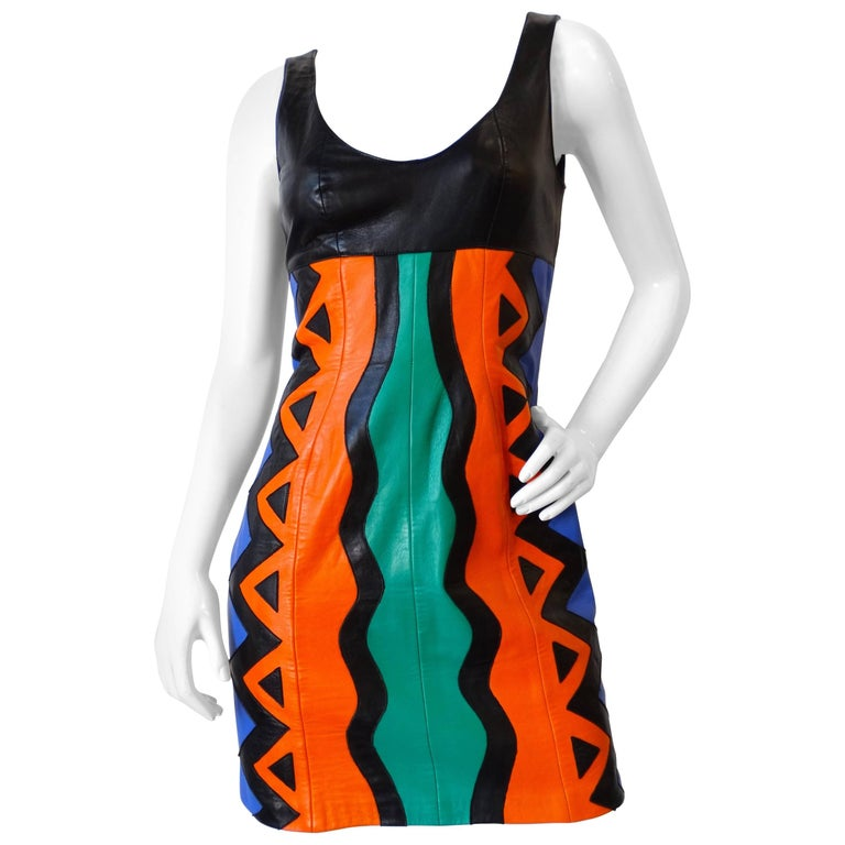 Michael Hoban Tribal Leather Tank Dress, 1980s