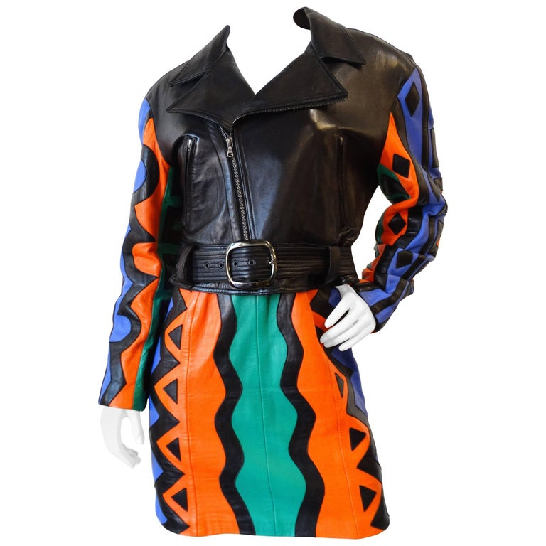 Michael Hoban Tribal Leather Motorcycle Jacket, 1980s